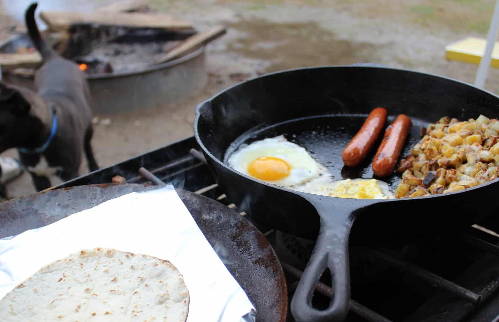 How to clean a cast iron skillet while camping